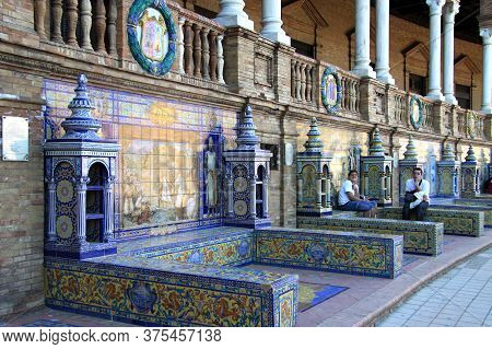 Seville, Spain - July 13, 2011:on The Square Of Spain In Seville