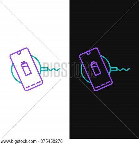Line Smartphone Charging On Wireless Charger Icon Isolated On White And Black Background. Charging B