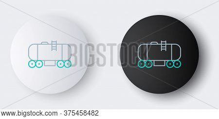 Line Oil Railway Cistern Icon Isolated On Grey Background. Train Oil Tank On Railway Car. Rail Freig