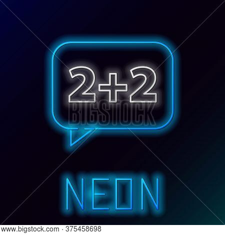 Glowing Neon Line Math System Of Equation Solution On Speech Bubble Icon Isolated On Black Backgroun