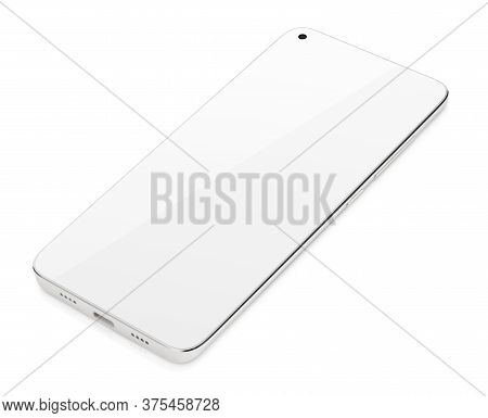 Modern White Smartphone With White Touch Screen Lying Down. Smart Phone On Isolated On White Backgro