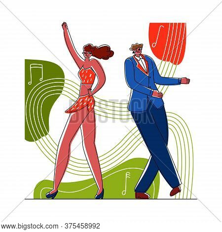 Vector Flat Illustration Dancing Couple On Abstract Background In Form Of Notes And Music. Concept L