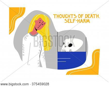 Vector Metaphorical Abstract Illustration Sad Young Woman Looking At Skull Exhibit. Concept Depressi