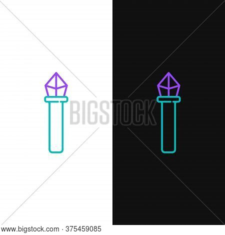 Line Magic Staff Icon Isolated On White And Black Background. Magic Wand, Scepter, Stick, Rod. Color