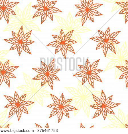 Red Collected Leaves On A White Background With Pale Yellow Leaves. Vector Autumn Seamless Pattern F