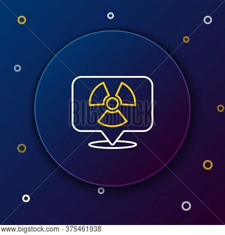 Line Radioactive In Location Icon Isolated On Blue Background. Radioactive Toxic Symbol. Radiation H