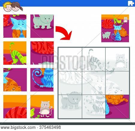 Cartoon Illustration Of Educational Jigsaw Puzzle Task For Children With Cats And Kittens Animal Cha