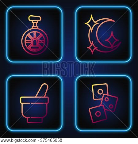 Set Line Game Dice, Magic Mortar And Pestle, Unicycle Or One Wheel Bicycle And Moon And Stars. Gradi