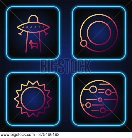 Set Line Planet Mars, Sun, Planet And Satellites Orbiting The Planet Earth. Gradient Color Icons. Ve