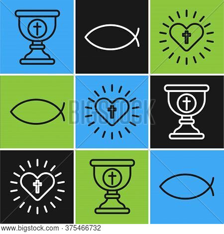 Set Line Christian Chalice, Christian Cross And Heart And Christian Fish Icon. Vector.