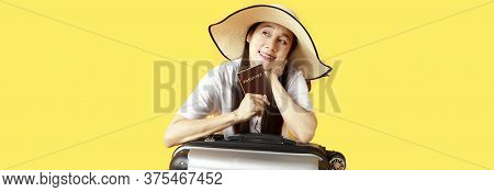 Asian Women Long Hair Wear Straw Hat With Black Ribbon In Hand Holding Passport Book And Travel Bag