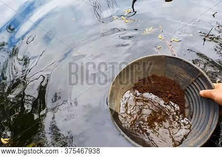 Gold Mining, Washing Rock In Search Of Gold.