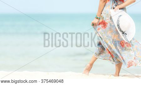 Summer Holiday. Lifestyle Woman Chill Holding Big White Hat And Wearing Dress Fashion Summer Trips S