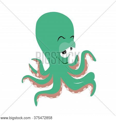 Octopus-blue Sea Animal Vector Illustration.blue Octopus For Childrens Prints On The Theme Of Marine