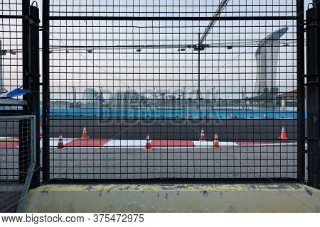Singapore - 9 Sep 2019: The Marina Bay Street Circuit Is Getting Ready To Welcome The Singapore Nigh