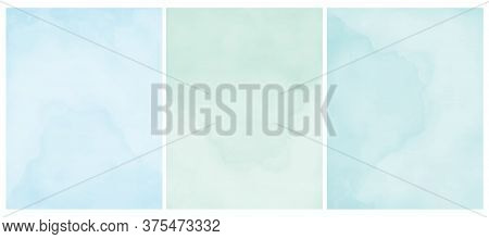 Simple Pastel Color Grunge Vector Layouts. Pastel Blue, Mint Green And Light Turquoise Backgrounds.