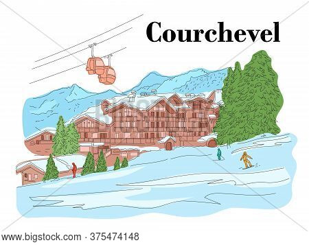 Courchevel In The Winter. People Are Skiing. Ski Resort. Vector Line Color Illustration
