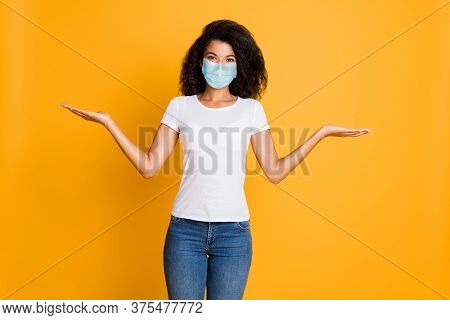 Portrait Of Her She Nice Attractive Healthy Wavy-haired Girl Holding On Palm Wearing Safety Gauze Ma