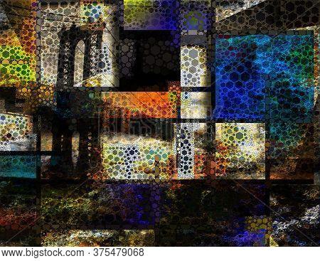 Modern Art Inspired Landscape NYC. Manhattan Bridge. 3D rendering