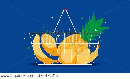 Shopping Basket With Tropical Fruits. Pineapple, Banana, Pear, Mango. Natural Foods, Vitamins, Nutri