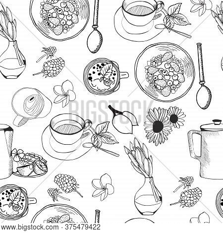 Seamless Pattern Of Doodles Food Elements On White Background. Background With Breakfast Healthy Bre