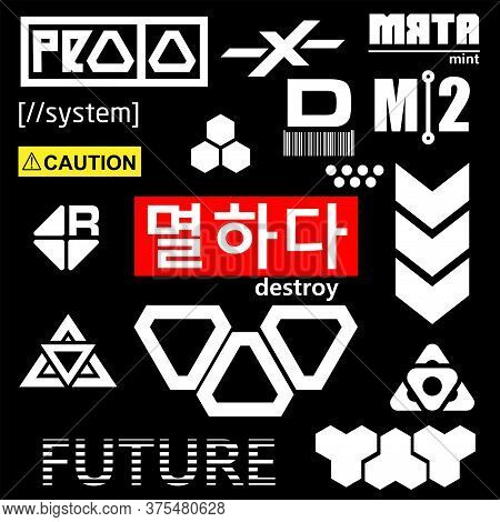 Cyberpunk Elements. Sign And Text In Cyberpunk Style For Cloth And Interface. English And Korean Ins