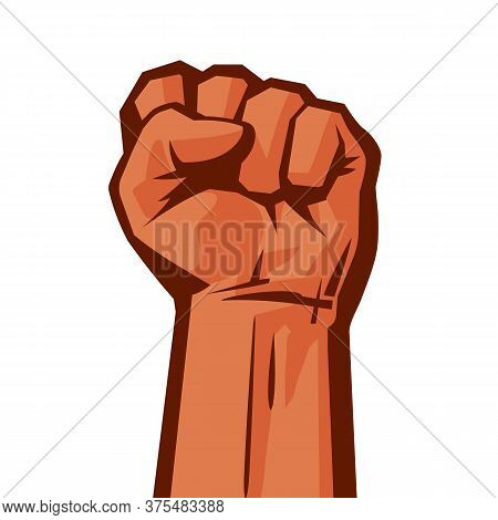 Raised Hand With Clenched Fist Concept Of Protest, Strength, Freedom, Revolution, Rebel, Revolt Retr