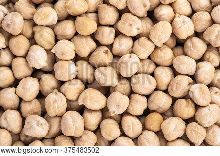 Chickpeas Background Close Up. Healthy Vegan Food Concept. Top View Banner With Chickpeas Close Up