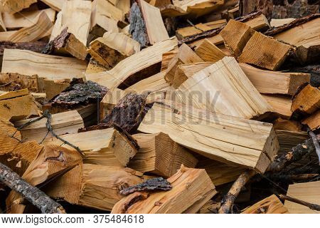 A Large Mountain Of Firewood In The Village. Firewood Close Up
