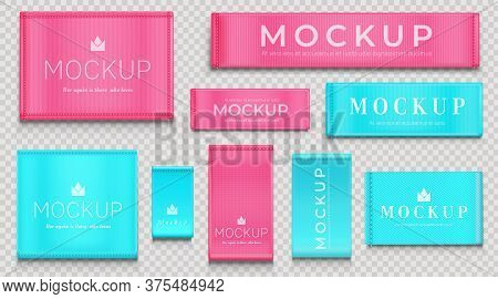 Fabric Tags For Textile Isolated On Transparent Background. Vector Realistic Mockup Of Blue And Pink