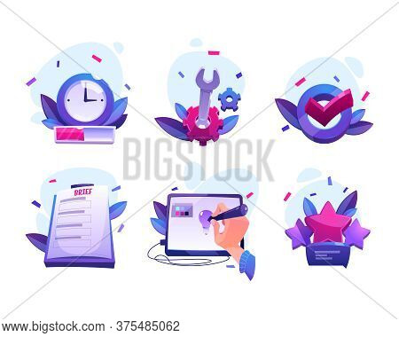 Work Process Of Graphic Designer From Taking Order To Customer Feedback And Review. Vector Cartoon I