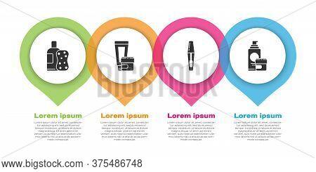 Set Bottle Of Shampoo And Sponge, Cream Or Lotion Cosmetic Tube, Mascara Brush And Cream Or Lotion C