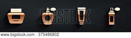 Set Cream Or Lotion Cosmetic Tube, Perfume, Cream Or Lotion Cosmetic Tube And Perfume Icon With Long