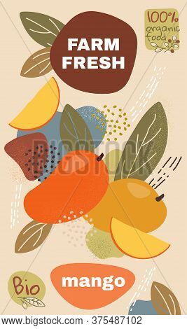 Food Label Template. Vector Illustration For Organic Mango Fruit. Natural Bio Fruits Package Design.