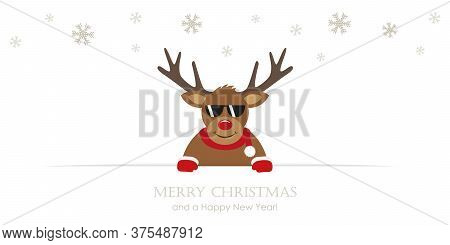 Cute Reindeer With Sunglasses Cartoon Christmas Card Vector Illustration Eps10