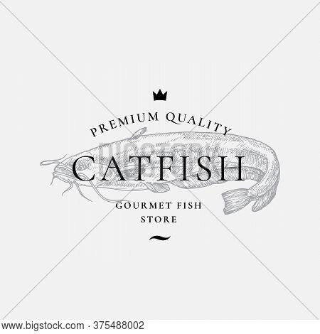 Premium Quality Gourmet Fish Purveyors. Abstract Vector Sign, Symbol Or Logo Template. Hand Drawn Ca