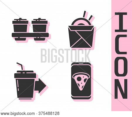 Set Food Ordering Pizza, Coffee Cup To Go, Coffee Cup To Go And Asian Noodles And Chopsticks Icon. V