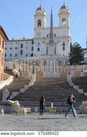 People Wearing Face Masks At The Spanish Steps, Rome, Italy