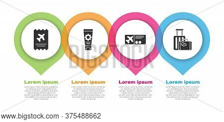 Set Airline Ticket, Sunscreen Cream In Tube, Airline Ticket And Suitcase. Business Infographic Templ