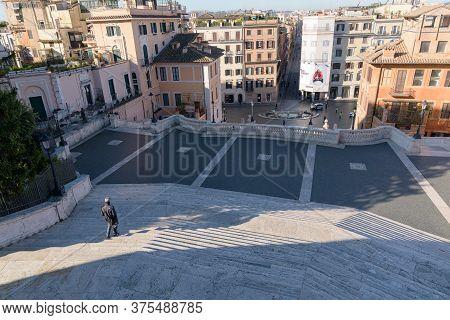 Deserted Spanish Steps In Rome, Italy