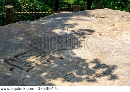 Gimhae, South Korea - June 18, 2017 : A Dolmen, Bronze Age Tomb Made Of Flat Horizontal Stone Put Ov