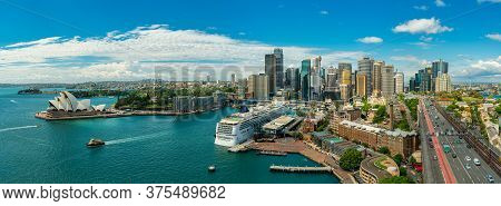 Panorama View Of Sydney Harbor Bay And Sydney Downtown Skyline With Opera House In A Beautiful After