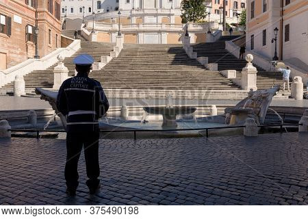Police Presence Enforces Confinement Measures At The Spanish Steps, Rome, Italy