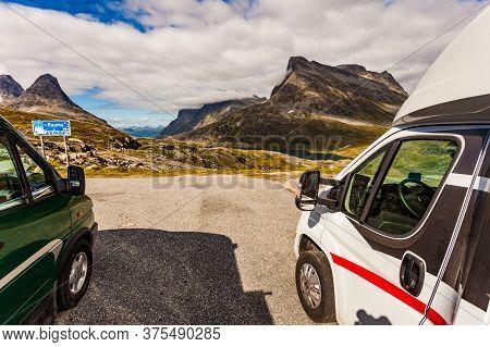 Trollstigen, Norway - July 9, 2018: Camper Vans In Mountains On Roadside On National Tourist Route G