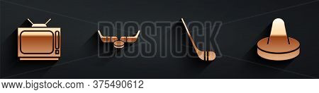 Set Retro Tv, Ice Hockey Sticks And Puck, Ice Hockey Stick And Mallet For Playing Air Hockey Icon Wi