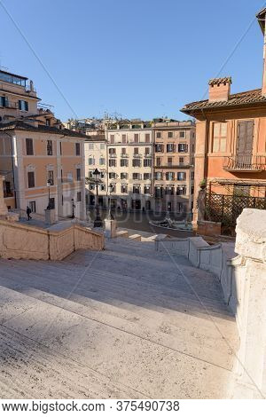 Rome, Italy - 12 March 2020: Popular Tourist Spot Of The Spanish Steps Appear Deserted Following The