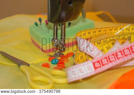 Furniture And Equipment For Sewing In Designer Sewing Workshop. Tools For Sewing For Hobby