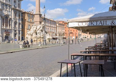 Empty Restaurants And Streets Following The Lockdown In Rome, Italy