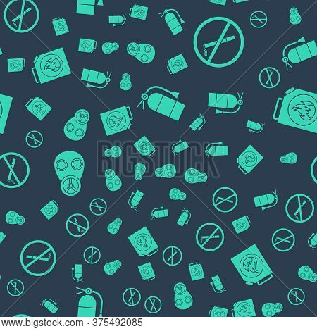 Set Fire Extinguisher, No Smoking, Gas Mask And Canister For Flammable Liquids On Seamless Pattern.