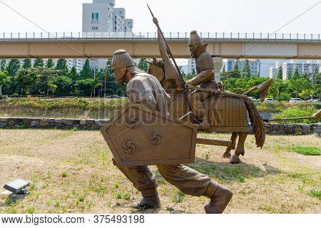 Gimhae, South Korea - June 18, 2017 : Replica Of Gaya Dynasty  Footman And Chevalier Bronze Statue I